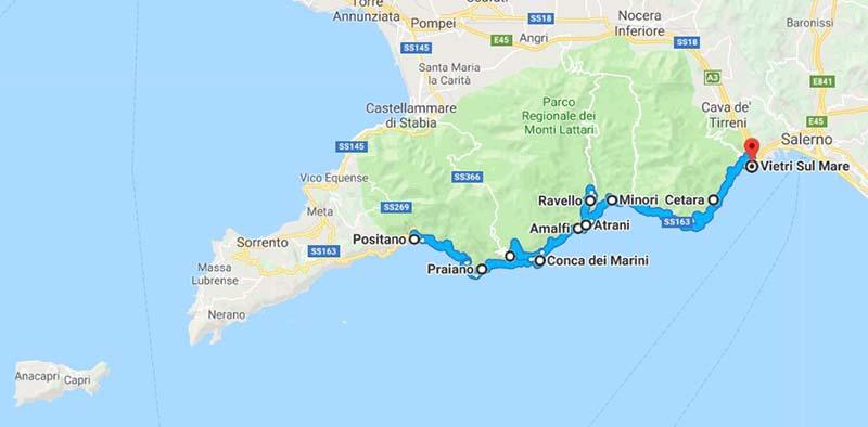 Cartina Geografica Della Costiera Amalfitana.Itinerario Costiera Amalfitana Cosa Fare E Cosa Vedere Visit