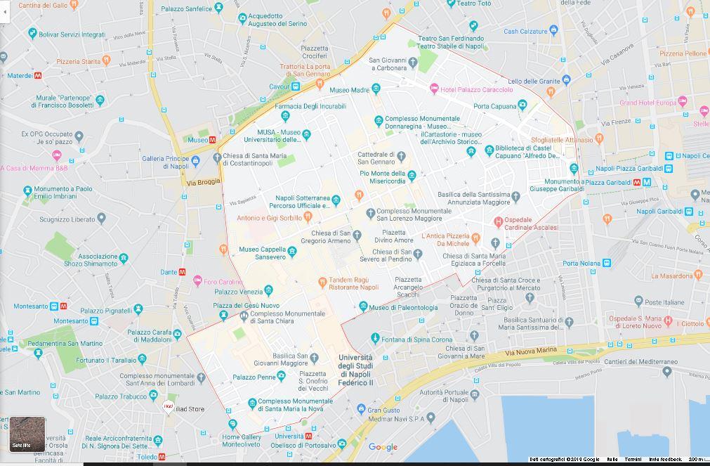 mappa centro storico di napoli
